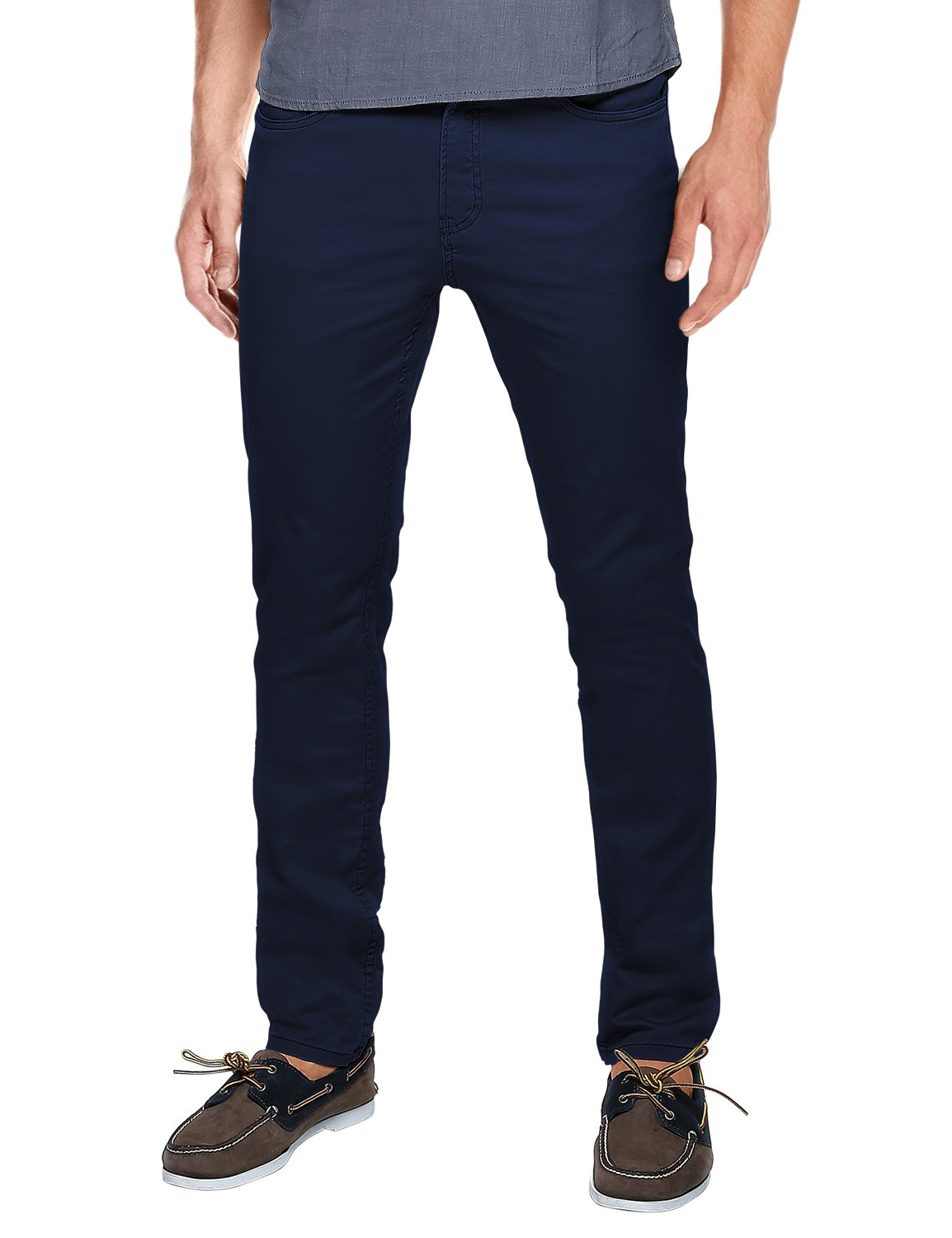 Match Mens Slim-Tapered Flat-Front Casual Pants (32, 8082 Blue)