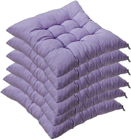 AGDLLYD Set di 6 Cuscini di Seduta Cuscino Sedia 40x40x5cm per Interno ed Esterno Molti Colori Imbottitura Spessa Cuscino TrapuntatoCuscino per