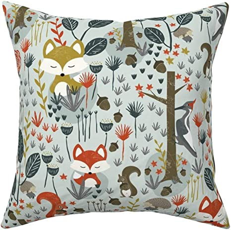 Amazon Com Roostery Throw Pillow Forest Friends Fall Fox Woodpecker Autumn Woodland Squirrel Hedgehog Rustic Print Linen Cotton Canvas Knife Edge Accent Pillow 18in X 18in With Insert Home Kitchen