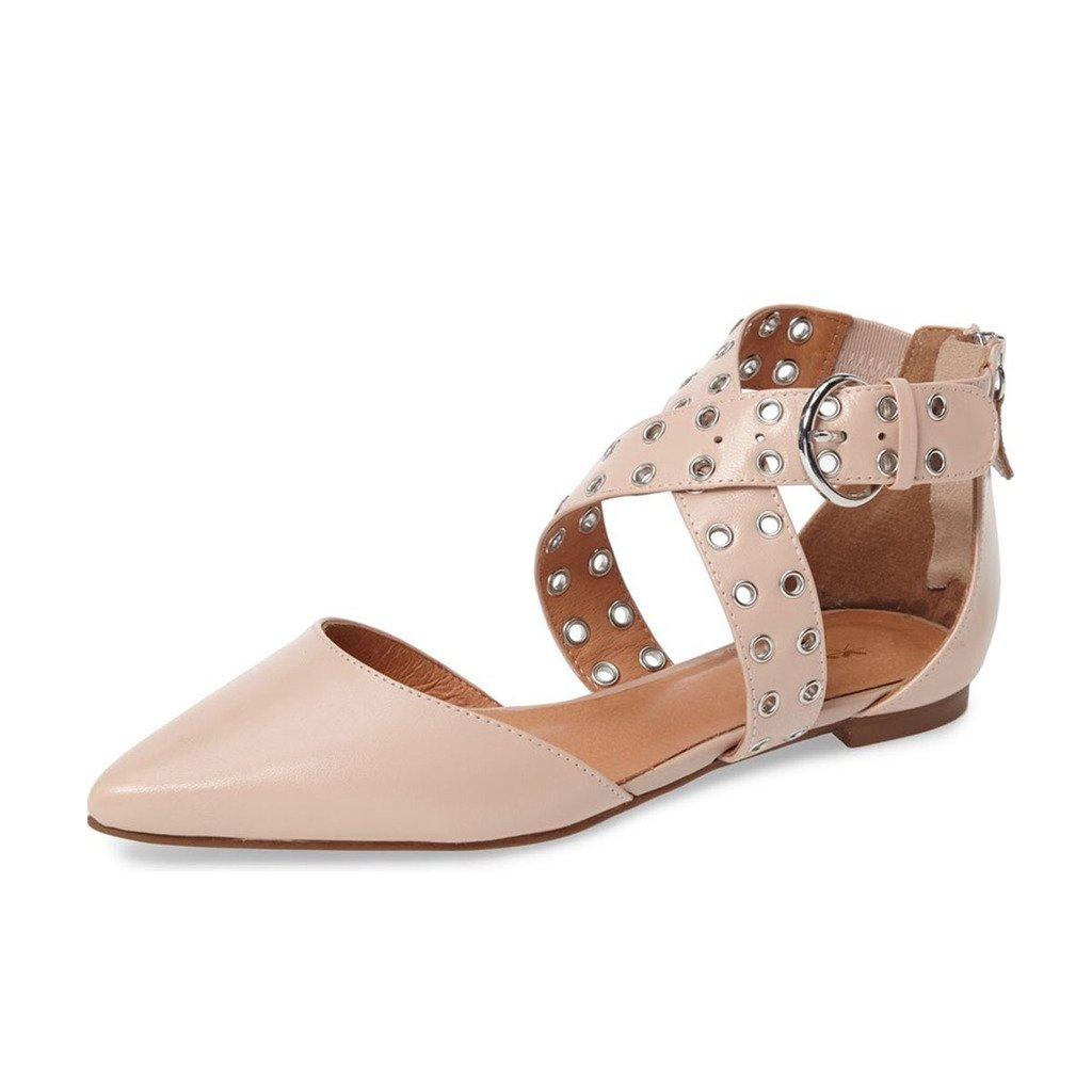 XYD Women Retro Cross Strap Studs Pointed Toe Sandal Flats Low Heel Buckle Dress Shoes B071Z1TDNH 9 B(M) US|Nude