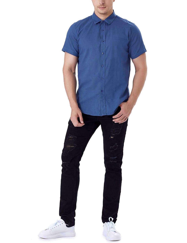 Sykooria Shirt for Men Slim Fit Short Sleeve Summer Tee Patchwork Grid Neck Button Down Fashion Regular Fit Shirt