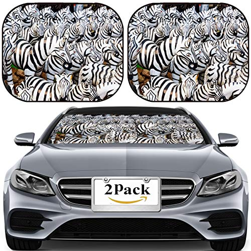 MSD Car Sun Shade for Windshield Universal Fit 2 Pack Sunshade, Block Sun Glare, UV and Heat, Protect Car Interior, Image ID: 27967626 Zebra Statue at The Shrine for Worship