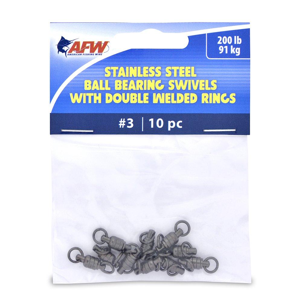 American釣りワイヤステンレススチールボールベアリングSwivels ( 10ピース)、ガンメタルブラック、サイズ# 3 / 200-pound / 91kgテスト   B00P45D4F4