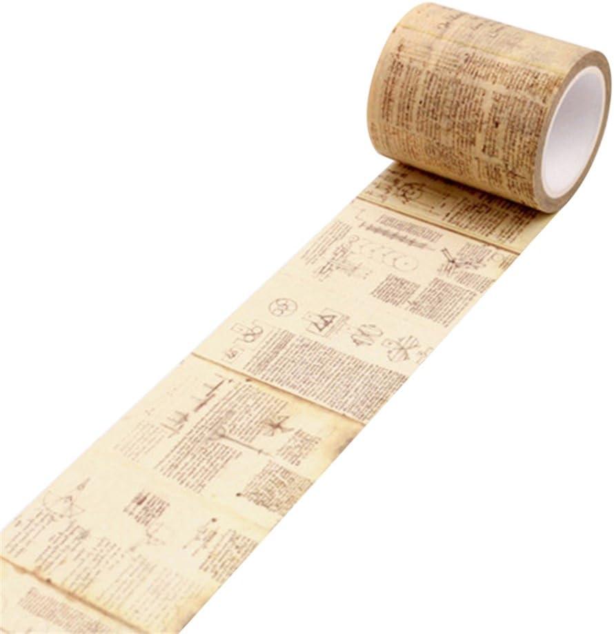 Academyus Vintage Washi Tape, Craft Decorative Masking DIY Adhesive Scrapbook Sticker Tape (Leonardo Da Vinci Manuscript)