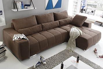 LOPEZ Ecksofa mit Schlaffunktion Couch Schlafsofa Sofa Braun: Amazon ...