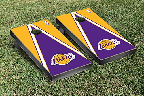 Los Angeles LA Lakers NBA Basketball Cornhole Game Set Triangle Version by Victory Tailgate
