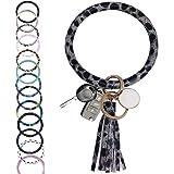 "CYLMFC Wristlet Keychain Bracelet Bangle Keyring Leather – 3.2"" Circle Key Ring Tassel Bracelet Holder For Women Girl"