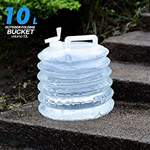 Ezyotudoor 2 Pieces 10L PE Pack Water Bettle Outdoor Camping Portable Folding Bucket Water Bag(White)