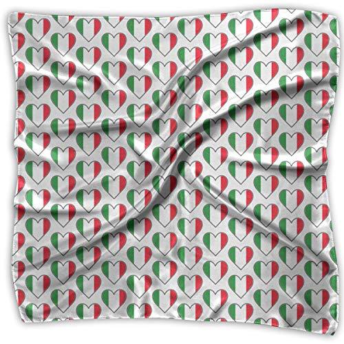 Italian Flag Hearts Women Silk Scarf Square Satin Headscarf Neck Head Handkerchief