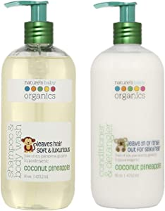 Nature's Baby Organics Baby Shampoo and Conditioner Combo Pack with Organic Ingredients, No Sulfate or Paraben, Coconut Pineapple, 16 oz ea, 2 Pack