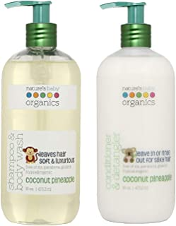 product image for Nature's Baby Organics Baby Shampoo and Conditioner Combo Pack with Organic Ingredients, No Sulfate or Paraben, Coconut Pineapple, 16 oz ea, 2 Pack