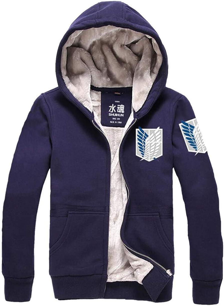 Gumstyle Attack on Titan Anime Unisex Full-Zip Hoodie Coat Winter Thicken Fleece Warm