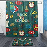 Cooper girl Back To School Waterproof Shower Curtain and Doormat Bath Floor Mat Sets