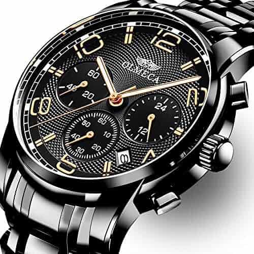 OLMECA Men's Watch Fashion Luxury Wrist Watches Analog Quartz Waterproof Chronograph Watch for Men Stainless Steel Strap Clock 0829M-QHMDgd