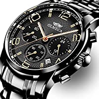 OLMECA - Reloj de pulsera para hombre, de lujo, de moda, simple, de acero inoxidable, correa de piel, analógico, de cuarzo, resistente al agua, reloj cronógrafo para hombre