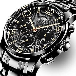 OLMECA Relojes Hombre Moda de Lujo Reloj de Pulsera de Cuarzo Cronógrafo Impermeable con Cuero, Relojes de Acero Inoxidable para Hombres. (F-Negro)