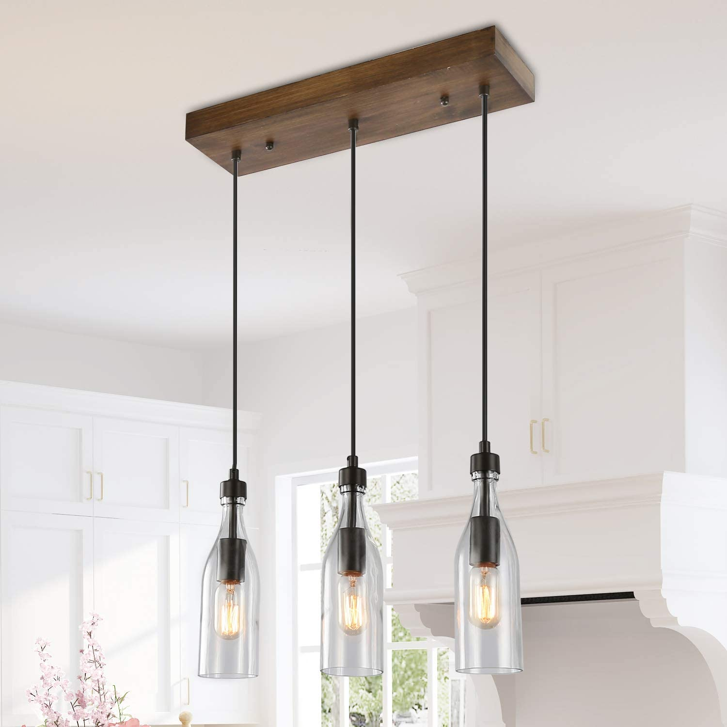 Lnc A03491 Wooden Pendant Lights 3 Height Adjustable Farmhouse Chandelier For Kitchen Island And Dining Room Square Amazon Com