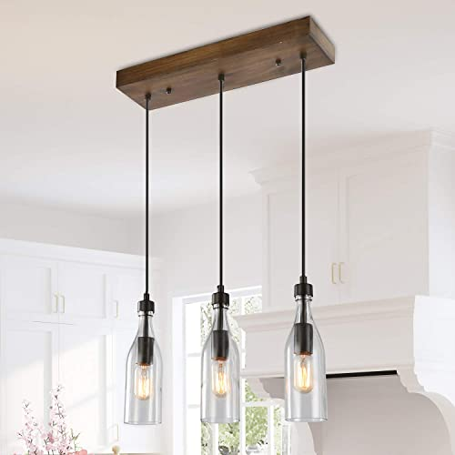 LNC A03491 Wooden Pendant Lights 3-Height Adjustable Farmhouse Chandelier for Kitchen Island and Dining Room, Square