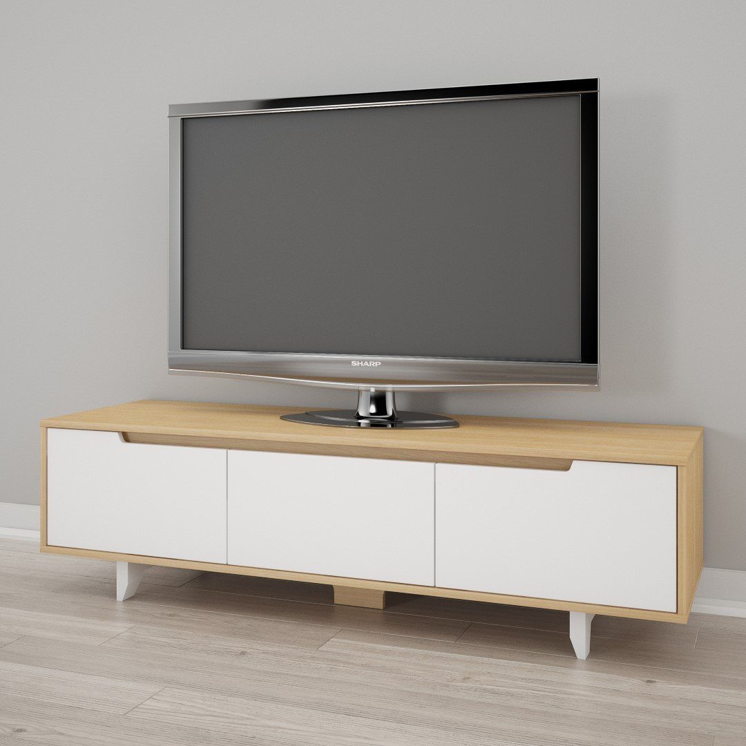 Nexera Nordik 60-inch TV Stand, White and Natural Maple