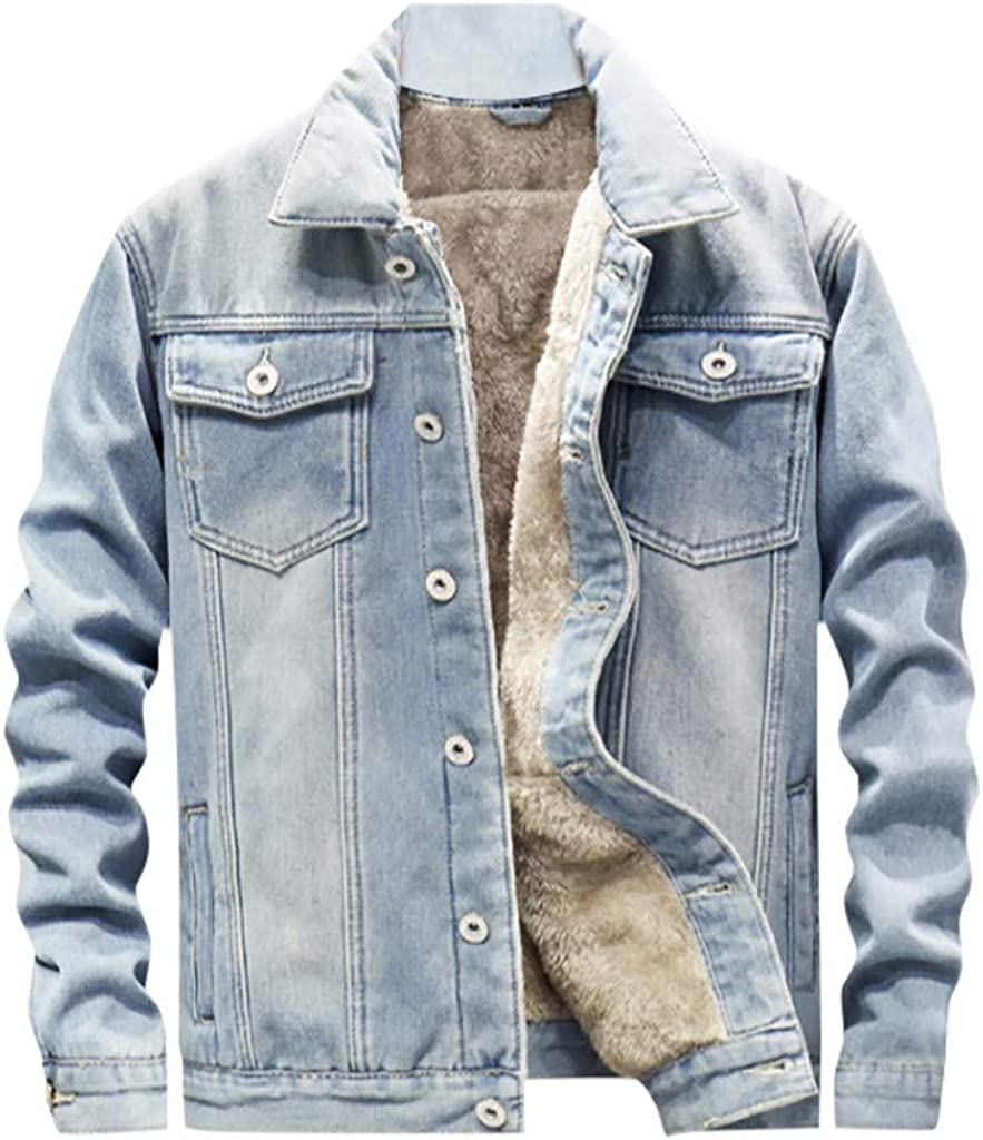 Stoota Men's Vintage Warm Fleece Denim Coat, Casual Solid Color Turn-Down Collar Long Sleeve Button Thin Jacket M-3XL