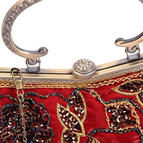 ERGEOB® Klassischen Retro-Perlen Abendtasche Paket des alten Shanghai cheongsam perfekte Übereinstimmung Indien und Pakistan Fashion Clutch Tasche Weinrot