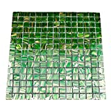 URBN Contemporary Transluscent Green Iridescent Glass Mosaic Tile with Metallic Bronze Highlight for Kitchen and Bath - Single Sheet (13 inches x 13 inches, 1.15 SQ FT)