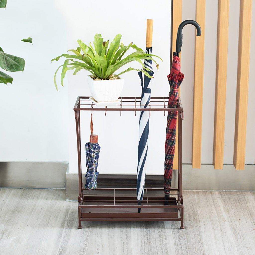 ZLsj Porte parapluies - pour parapluies cannes ou bâtons  - Porte parapluies avec un plateau et crochets ( Couleur : Bronze-