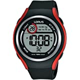 LORUS -LORUS DIGITAL GENTS BLACK AND REDSTRAP WATCH