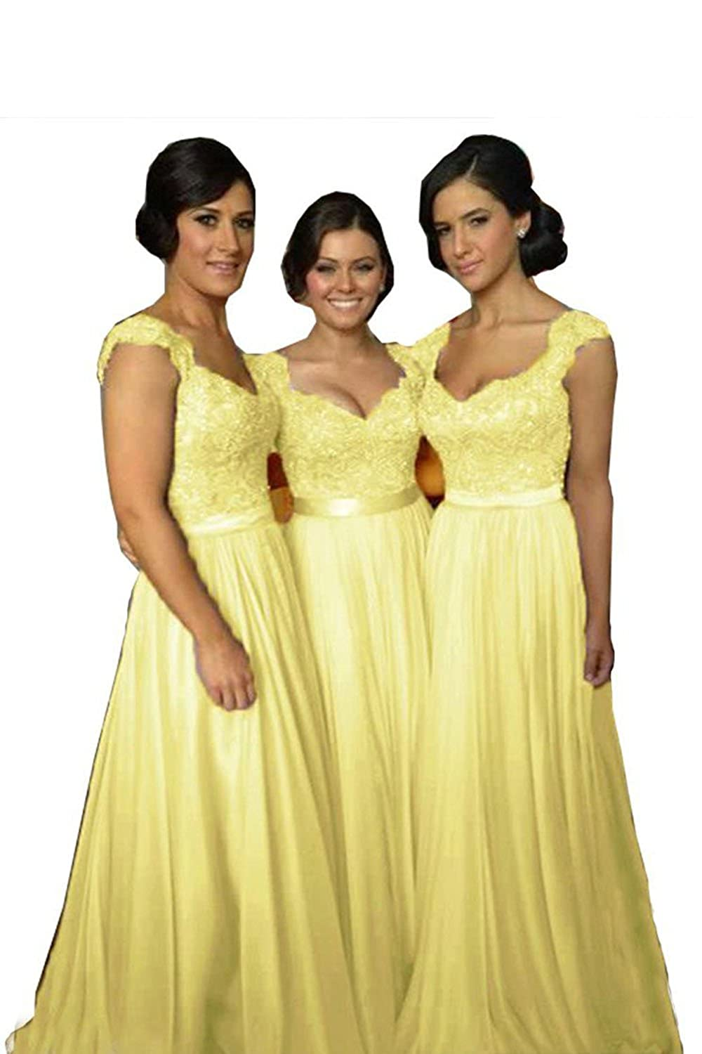 Yellow Future Girl Women's Lace Bridesmaid Dresses Cap Sleeve Long Wedding Party Gowns