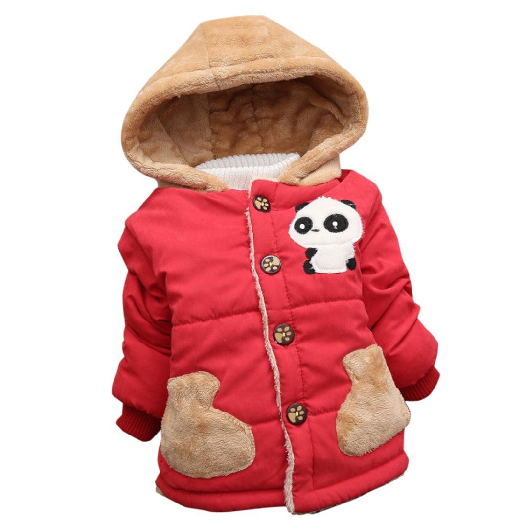 Konfa Baby Girls Boys Lovely Cartoon Panda Hooded Coat, Suitable for 0-4 Years Old, Winter Warm Thick Cloak Tops KONFA_Coat
