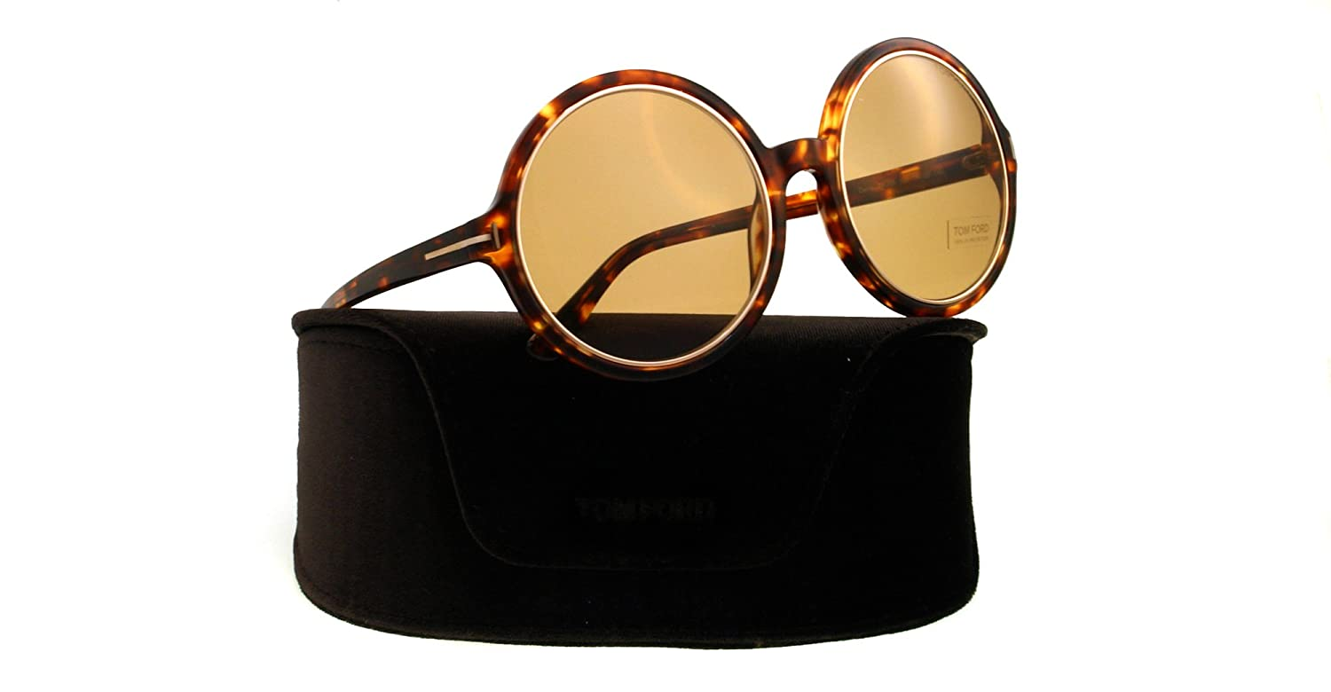 c764721a1f Amazon.com  Tom Ford Carrie Oversize Round Sunglasses Havana FT0268 52J 59  59 Brown  Tom Ford  Clothing