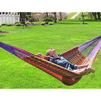 sunnydaze mayan family hammock hand woven xxl thick cord 880 pound capacity multi color amazon     hammocks rada  handmade yucatan hammock   matrimonial      rh   amazon
