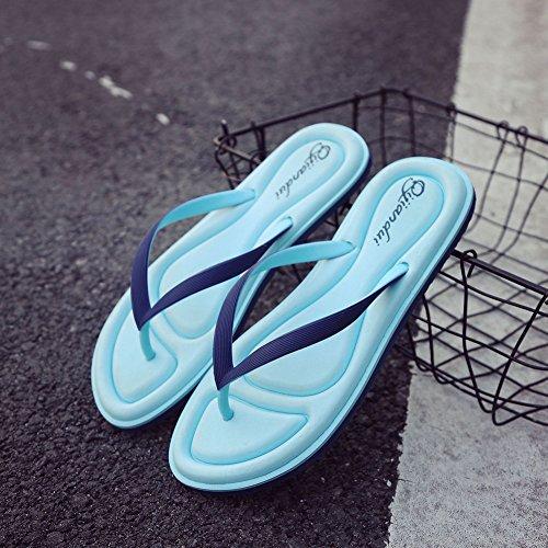 Mode Féminine Tongs Extérieure Anti-dérapant Portable Confortable Sandales De Plage Bleu