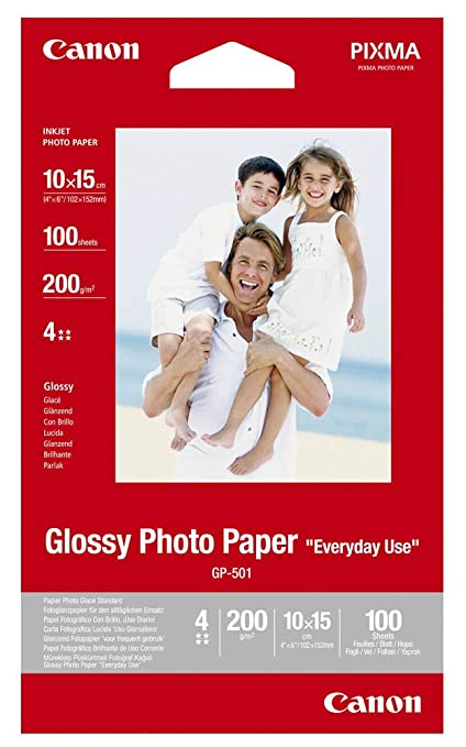 Canon Papel fotográfico, 100 hojas 10 x 15, brillante, Glossy Photo Paper Everyday 170 g, A6 10 x 15, gp501