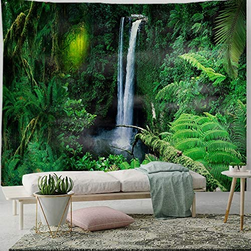 PROCIDA Home Tapestry Wall Hanging Nature Art Polyester Fabric Tree Theme, Wall Decor for Dorm Room, Bedroom, Living Room, Nail Included – 90 W x 71 L 230cmx180cm – Jungle Waterfall