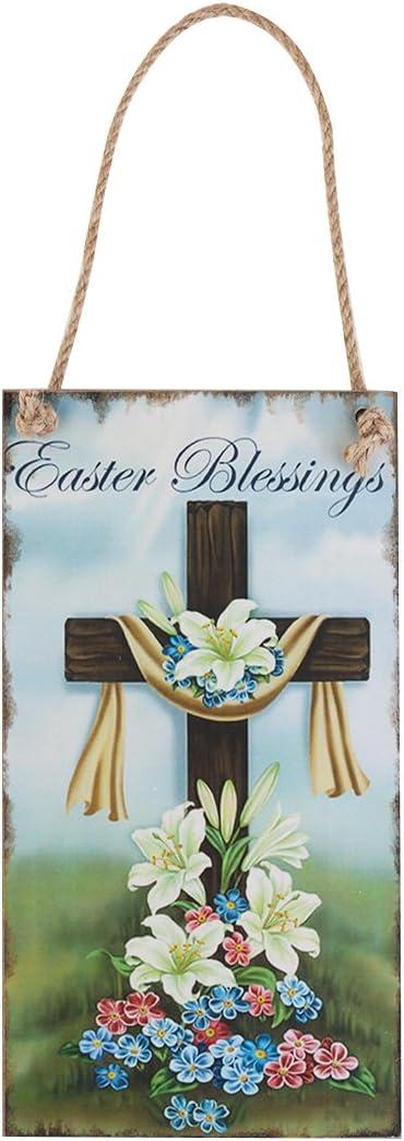 BESTOYARD Easter Decor Happy Easter Cross Wall Decor Hanging Plaque Decorative Sign Hanger Easter Greetings
