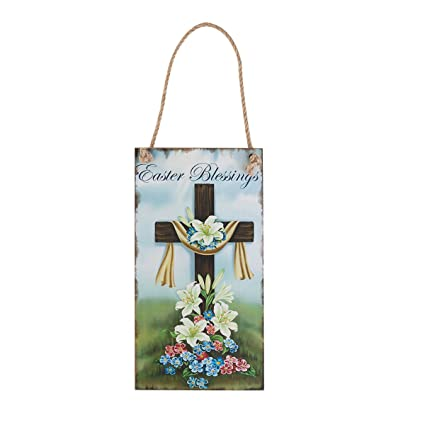Easter Decor Happy Easter Cross Wall Decor Hanging Plaque Decorative Sign  Hanger Easter Greetings