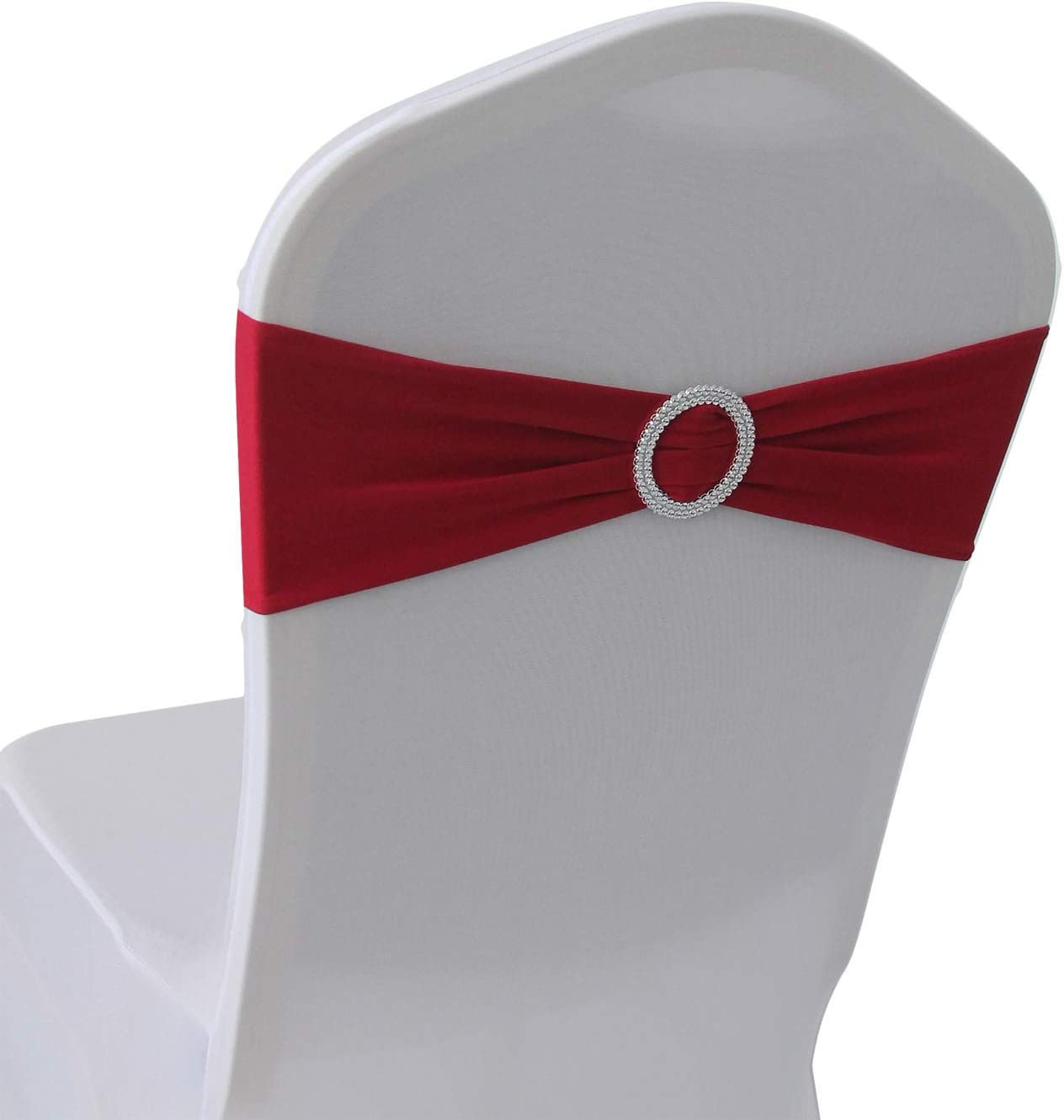 Cherry Red Spandex Chair Bands Sashes - 100 pcs Wedding Banquet Party Event Decoration Chair Bows Ties (Cherry Red, 100 pcs)