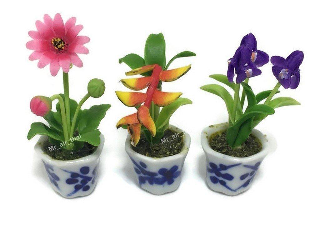 3pc Miniature Flower Clay Dollhouse Fairy Garden Mini Plant Trees Ceramic Paint Furniture Bundles Artificial Flowers Tiny Orchid #088