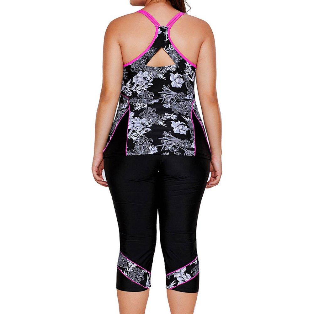 Meijunter Women Racerback Floral Pattern Plus Size Rash Guard Tankinis Sling Vest Swimwear Two Piece Sport Surfing Beachwear with Swim Capris Bottoms