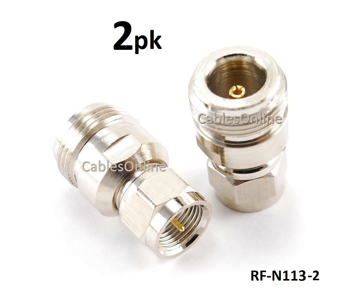 CablesOnline RF-N113-2 2-PACK N-Connector Female Jack to F-Type Male Plug Antenna RF Adapter