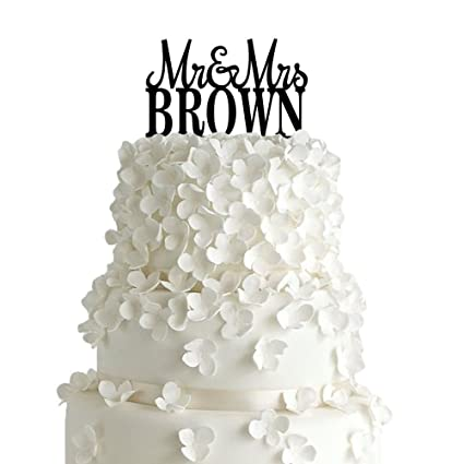 Amazon Com Pixnor Wedding Cake Topper Mr Mrs Brown Cake Topper