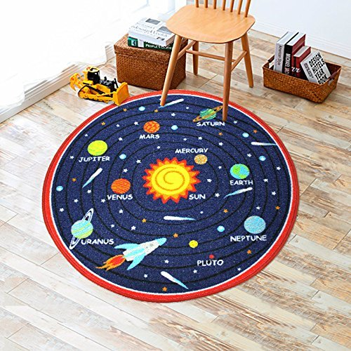 Diameter Solar System - Kids Round Rug Solar System Learning Area Rug Children's Fun Area Rug - Non Slip Bottom (39