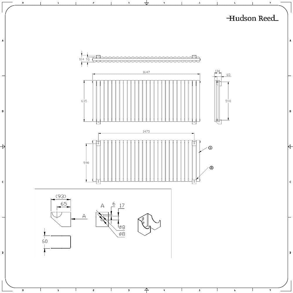 Hudson Reed Revive Radiatore Termoarredo di Design Orizzontale Moderno Termosifone con Finitura Opaca Nera Riscaldamento ad Acqua Calda Design a Colonna 652W 635 x 415mm