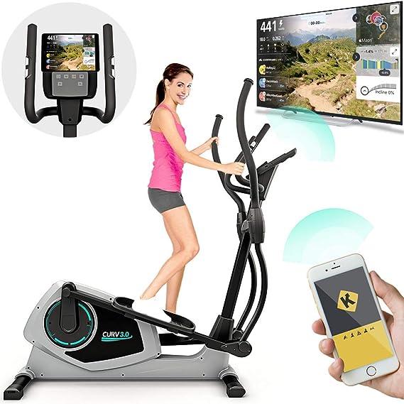 Bicicleta Eliptica Bluefin Fitness CURV 3.0 Elliptical Cross Trainer / Air Walker / Zancada larga / Consola de Fitness Digital LCD / Bluetooth / Aplicación para Smartphone / Negro y Plata: Amazon.es: Deportes y aire libre