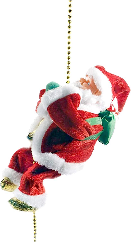 CRAZY LOOP Electric Santa Climbing Rope Up and Down with Music. Christmas Decorations. Bedroom, Home, Kitchen, Indoor, Table Decor. Holiday Xmas Clearance. Decoration/Decoracion para la Navidad