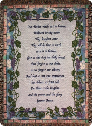 Manual Inspirational Collection 50 x 60-Inch Tapestry Throw with Verse, The Lord's Prayer (Sale For Couch Retro)