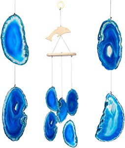 Yoption Wind Chimes Unique Blue Natural Agate Slices Wind Chimes for Home Garden Decoration Figurine, 11-20 inch