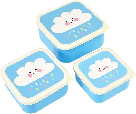 Rex London Fiambrera Kearfactum Desayuno Caja Almuerzo Caja 3 Unidades con Tapa para el Pause Pan y Aperitivos Diseño: Amazon.es: Hogar