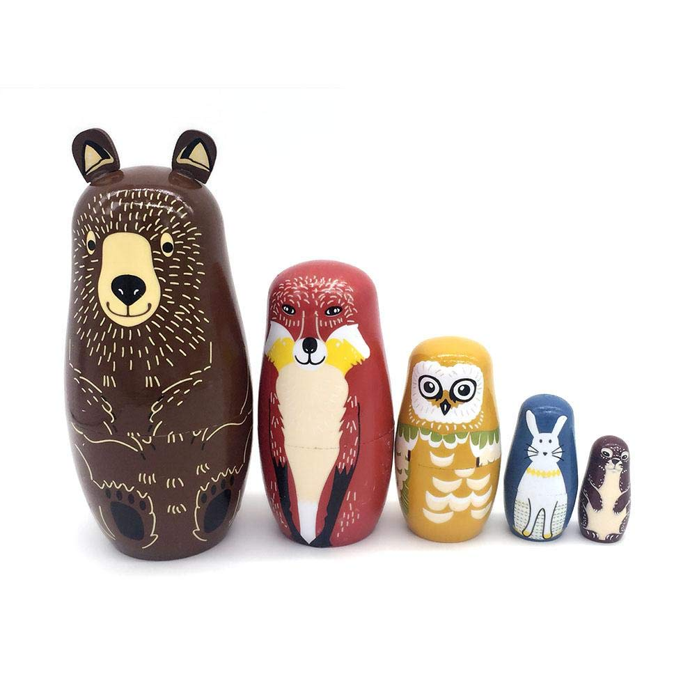 5PCS Brown Bear matrioske in legno Animal Craft Gift Wishing Doll Birthday Gift Box Storage box Russian Doll popular Handmade Kids Gifts Toy by Futurepast